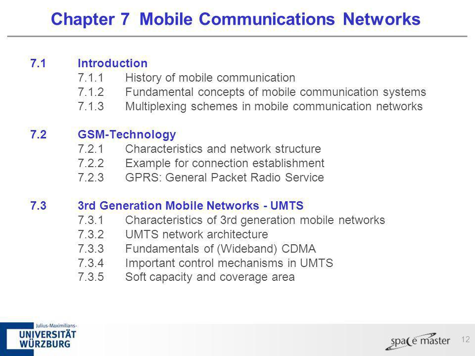 12 Chapter 7 Mobile Communications Networks 7.1 Introduction 7.1.1History of mobile communication 7.1.2Fundamental concepts of mobile communication sy