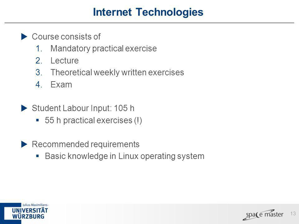 13 Internet Technologies Course consists of 1.Mandatory practical exercise 2.Lecture 3.Theoretical weekly written exercises 4.Exam Student Labour Inpu
