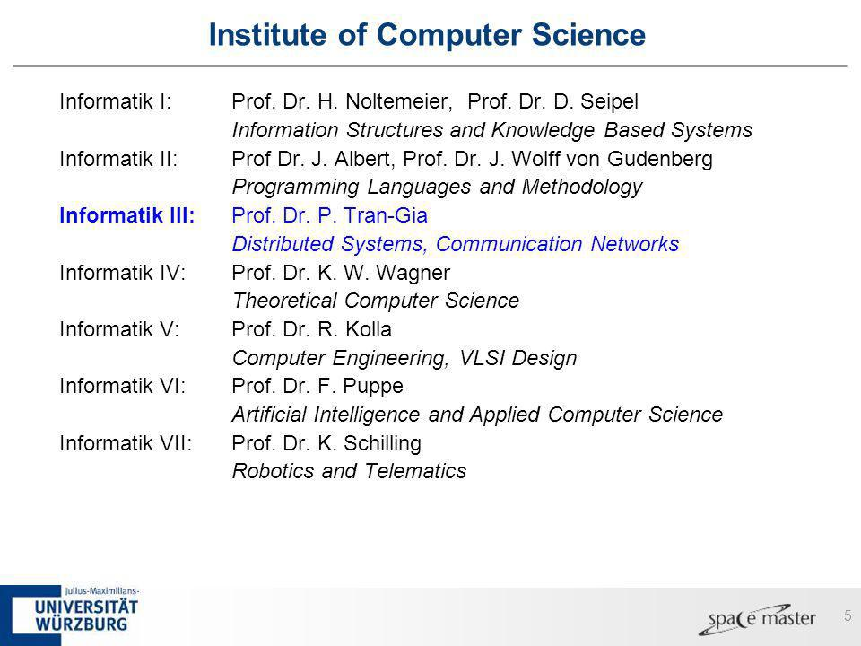 5 Institute of Computer Science Informatik I:Prof. Dr. H. Noltemeier, Prof. Dr. D. Seipel Information Structures and Knowledge Based Systems Informati