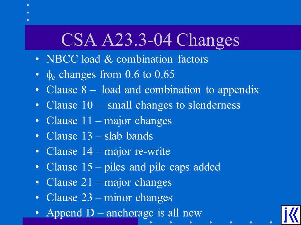 CSA A23.3-04 Changes NBCC load & combination factors c changes from 0.6 to 0.65 Clause 8 – load and combination to appendix Clause 10 – small changes