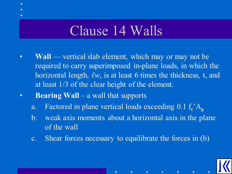Clause 14 Walls Wall vertical slab element, which may or may not be required to carry superimposed in-plane loads, in which the horizontal length, w,