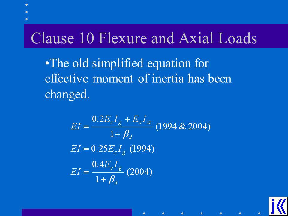 Clause 10 Flexure and Axial Loads The old simplified equation for effective moment of inertia has been changed.