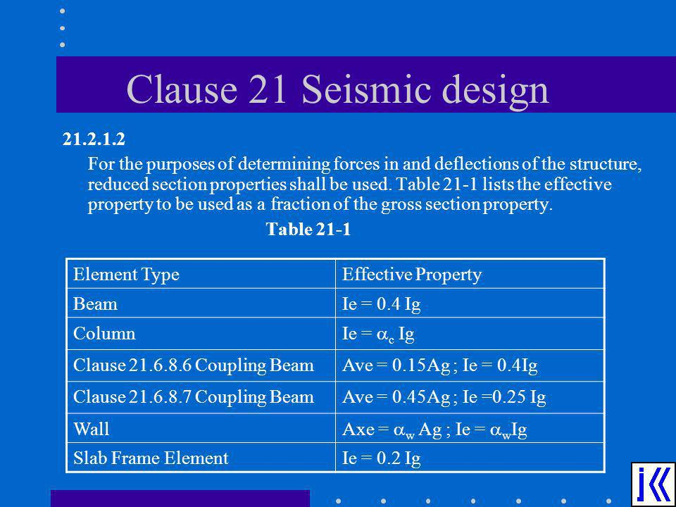 Clause 21 Seismic design 21.2.1.2 For the purposes of determining forces in and deflections of the structure, reduced section properties shall be used