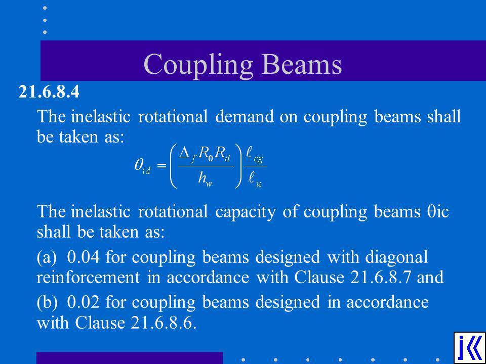 Coupling Beams 21.6.8.4 The inelastic rotational demand on coupling beams shall be taken as: The inelastic rotational capacity of coupling beams ic sh