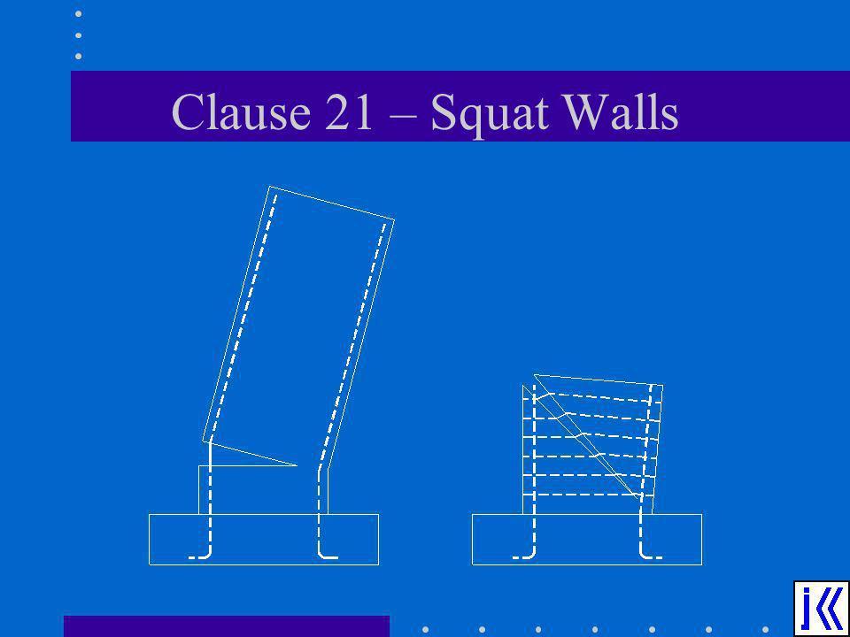 Clause 21 – Squat Walls