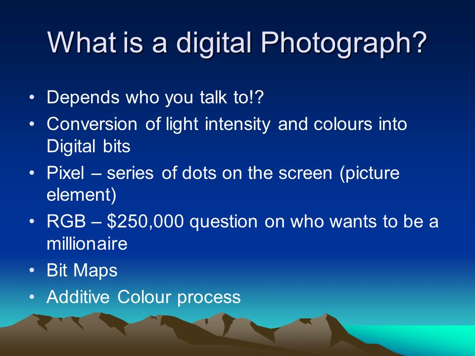 What is a digital Photograph. Depends who you talk to!.
