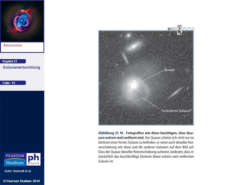 Kapitel 21 Astronomie Autor: Bennett et al. Galaxienentwicklung © Pearson Studium 2010 Folie: 15