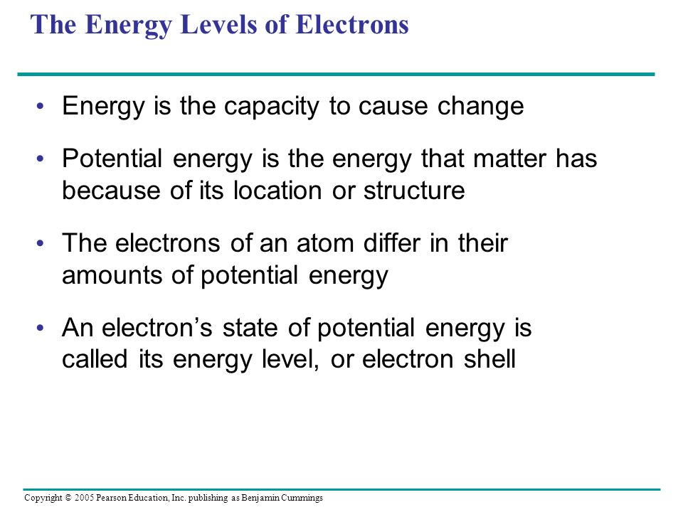 Copyright © 2005 Pearson Education, Inc. publishing as Benjamin Cummings The Energy Levels of Electrons Energy is the capacity to cause change Potenti