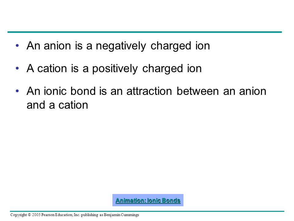 Copyright © 2005 Pearson Education, Inc. publishing as Benjamin Cummings An anion is a negatively charged ion A cation is a positively charged ion An