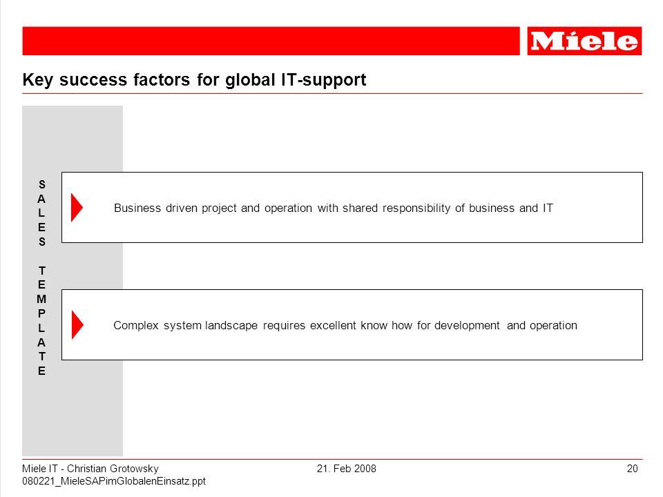 21. Feb 2008Miele IT - Christian Grotowsky 080221_MieleSAPimGlobalenEinsatz.ppt 20 Key success factors for global IT-support Business driven project a