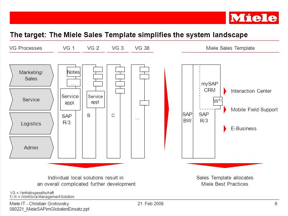 21. Feb 2008Miele IT - Christian Grotowsky 080221_MieleSAPimGlobalenEinsatz.ppt 6 SAP BW The target: The Miele Sales Template simplifies the system la