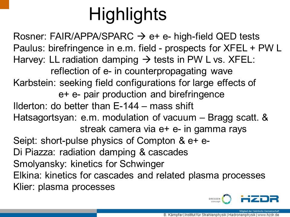 B. Kämpfer   Institut für Strahlenphysik   Hadronenphysik   www.hzdr.de Highlights Rosner: FAIR/APPA/SPARC e+ e- high-field QED tests Paulus: birefrin