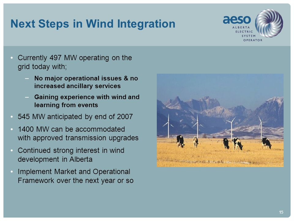 15 Next Steps in Wind Integration Currently 497 MW operating on the grid today with; –No major operational issues & no increased ancillary services –G