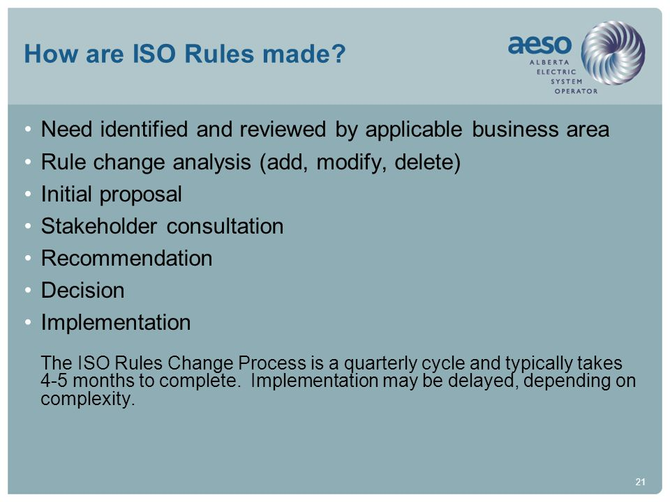 21 How are ISO Rules made? Need identified and reviewed by applicable business area Rule change analysis (add, modify, delete) Initial proposal Stakeh