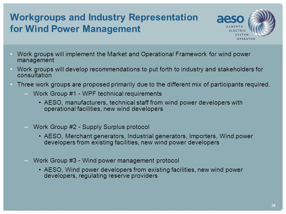 34 Workgroups and Industry Representation for Wind Power Management Work groups will implement the Market and Operational Framework for wind power man