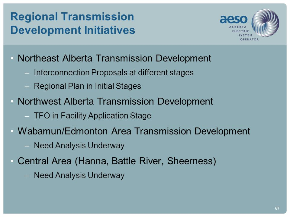67 Regional Transmission Development Initiatives Northeast Alberta Transmission Development –Interconnection Proposals at different stages –Regional P