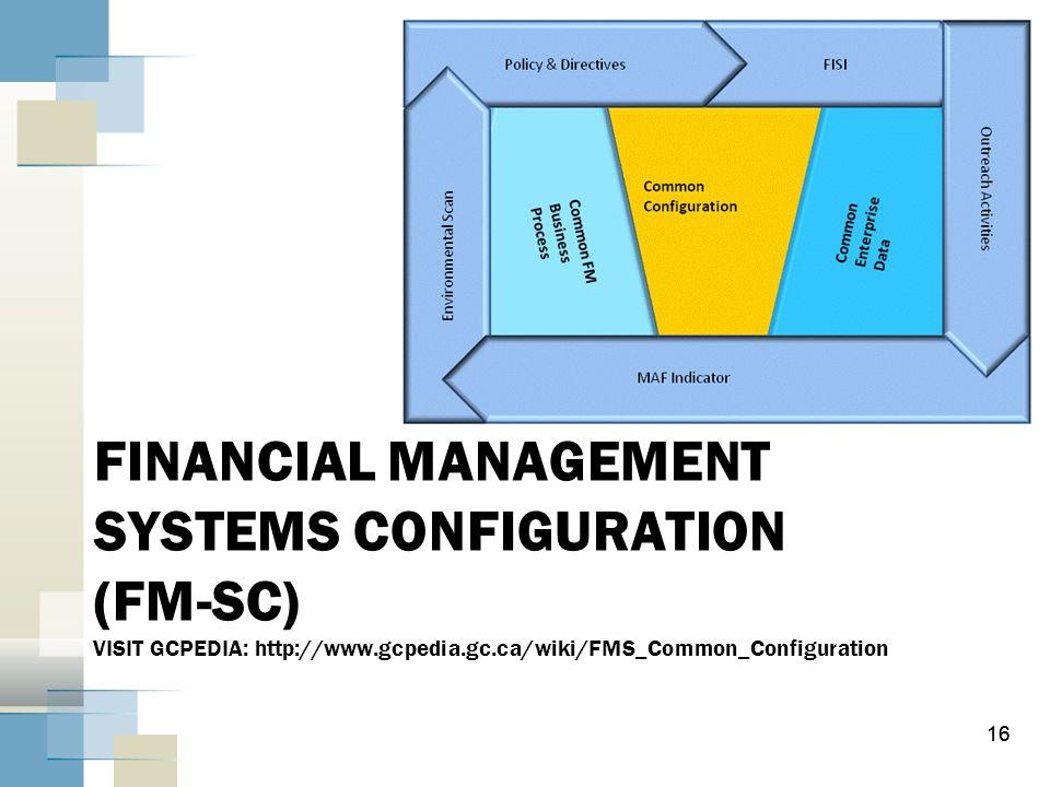 16 FINANCIAL MANAGEMENT SYSTEMS CONFIGURATION (FM-SC) VISIT GCPEDIA: http://www.gcpedia.gc.ca/wiki/FMS_Common_Configuration 16