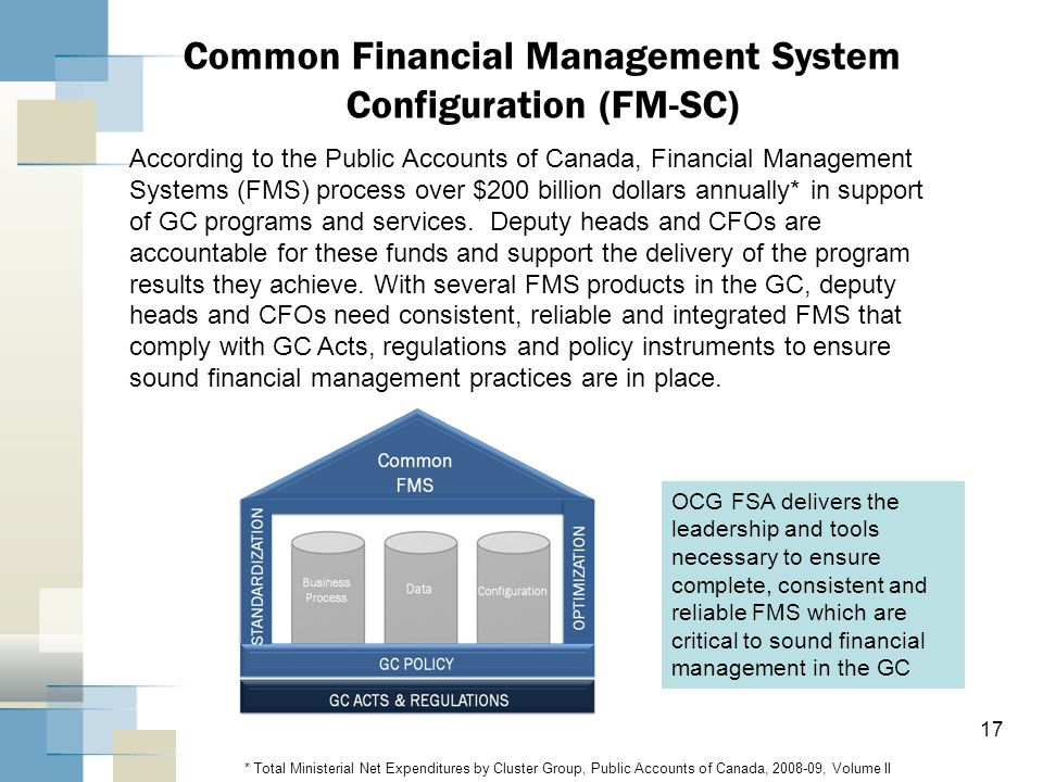17 Common Financial Management System Configuration (FM-SC) According to the Public Accounts of Canada, Financial Management Systems (FMS) process ove
