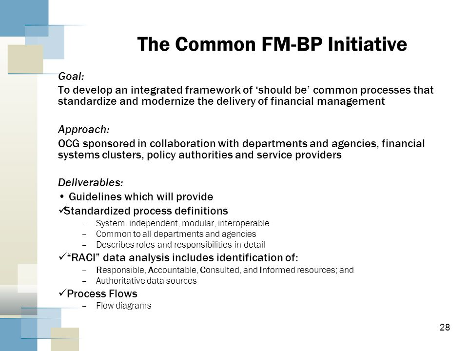 28 The Common FM-BP Initiative Goal: To develop an integrated framework of should be common processes that standardize and modernize the delivery of f