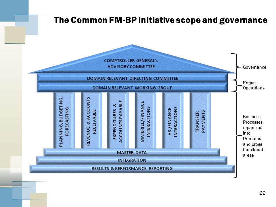 29 The Common FM-BP initiative scope and governance Business Processes organized into Domains and Cross functional areas Governance Project Operations
