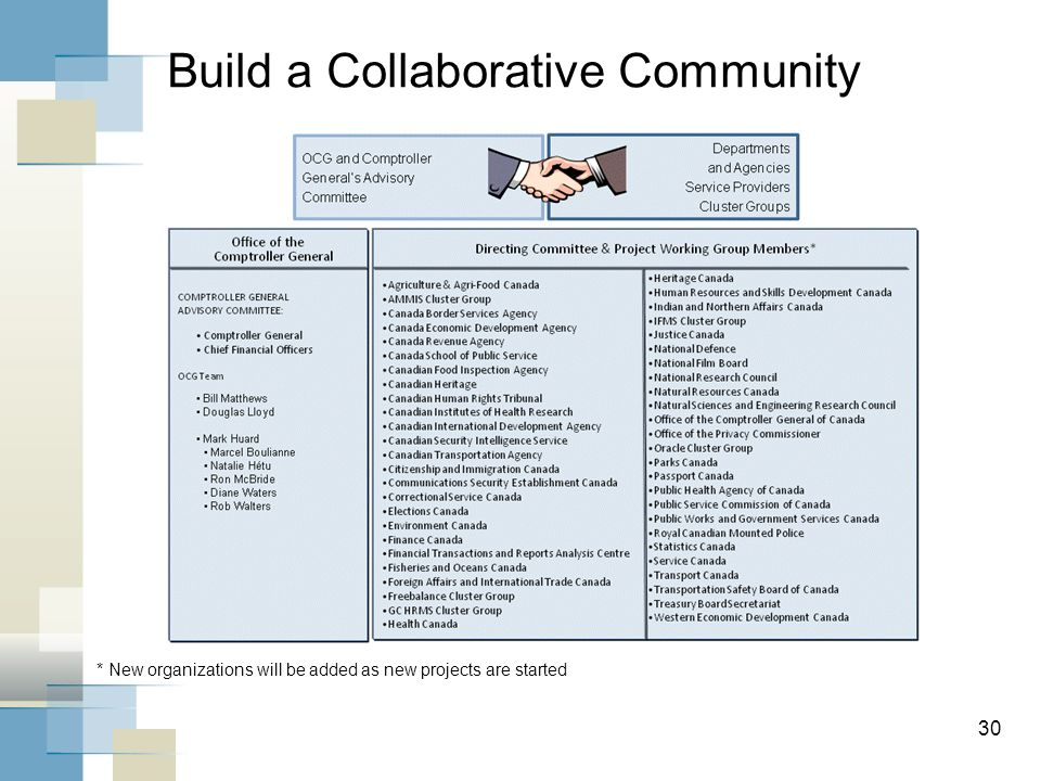 30 Build a Collaborative Community * New organizations will be added as new projects are started