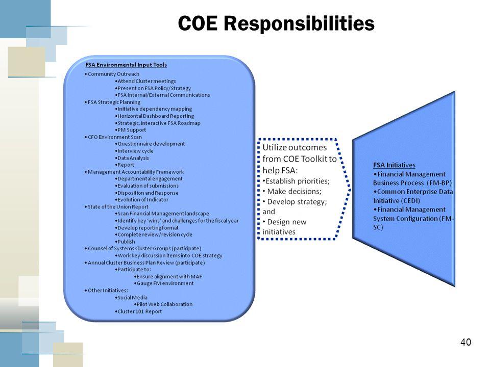 40 COE Responsibilities