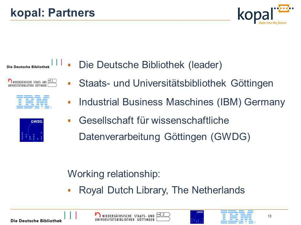 18 kopal: Partners Die Deutsche Bibliothek (leader) Staats- und Universitätsbibliothek Göttingen Industrial Business Maschines (IBM) Germany Gesellschaft für wissenschaftliche Datenverarbeitung Göttingen (GWDG) Working relationship: Royal Dutch Library, The Netherlands