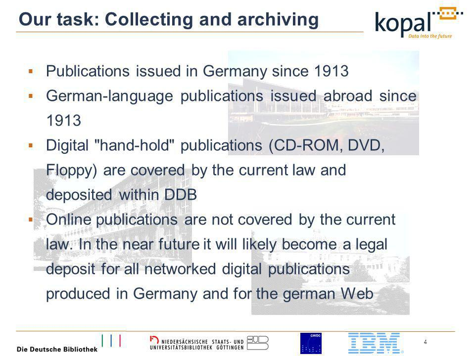 4 Publications issued in Germany since 1913 German-language publications issued abroad since 1913 Digital hand-hold publications (CD-ROM, DVD, Floppy) are covered by the current law and deposited within DDB Online publications are not covered by the current law.