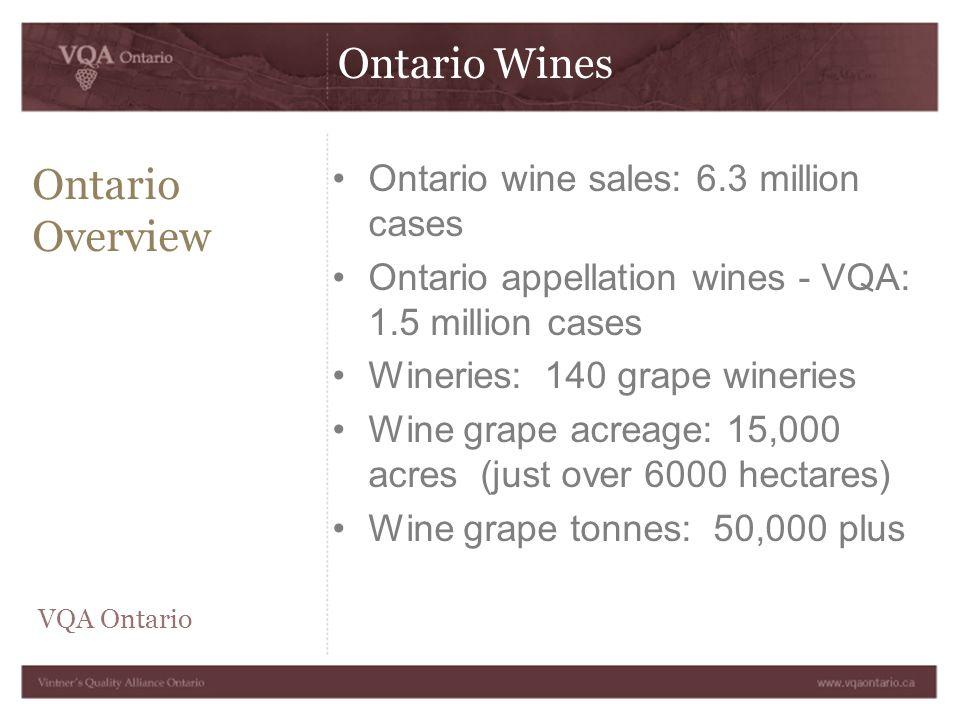 Ontario Wines Ontario Overview Ontario wine sales: 6.3 million cases Ontario appellation wines - VQA: 1.5 million cases Wineries: 140 grape wineries Wine grape acreage: 15,000 acres (just over 6000 hectares) Wine grape tonnes: 50,000 plus VQA Ontario