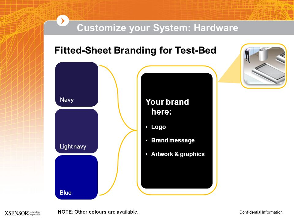 Confidential Information Fitted-Sheet Branding for Test-Bed Navy Light navy Blue Your brand here: Logo Brand message Artwork & graphics NOTE: Other co