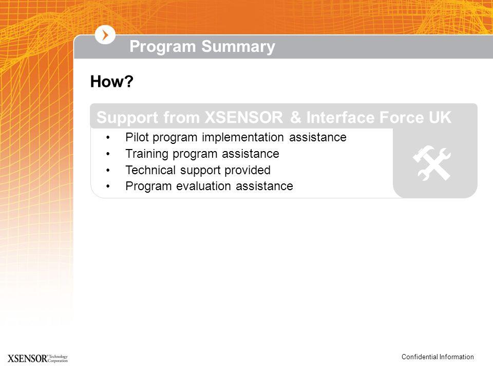 Confidential Information How? Pilot program implementation assistance Training program assistance Technical support provided Program evaluation assist