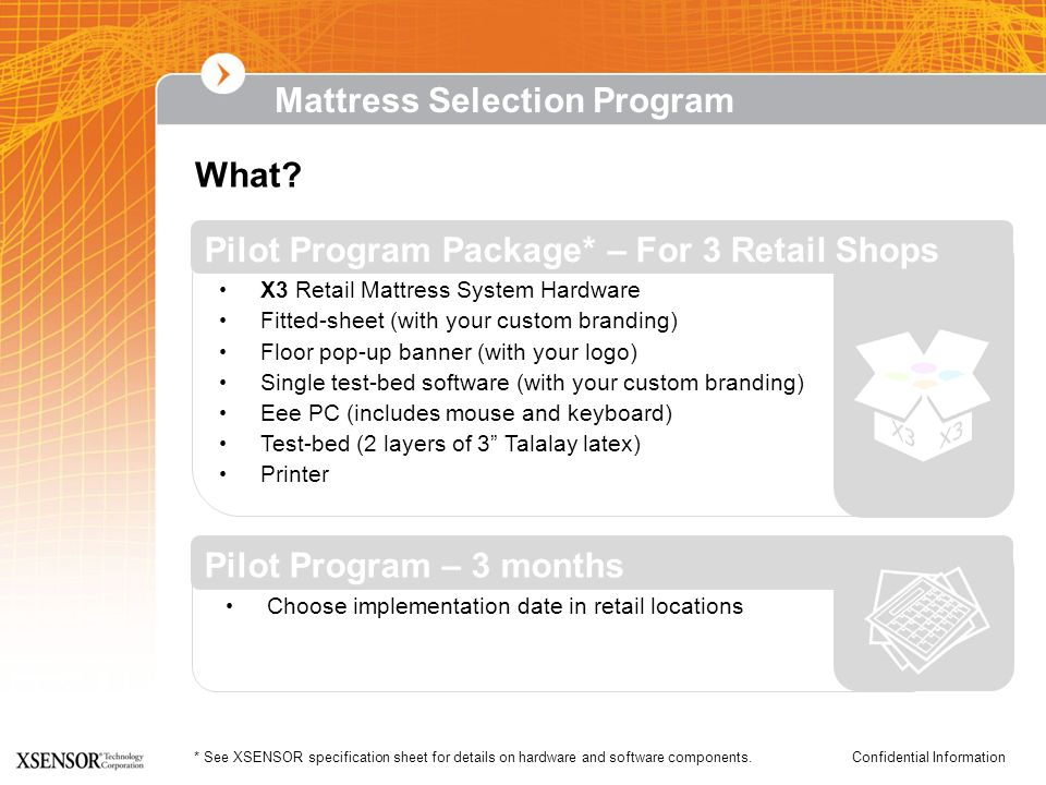 Confidential Information* See XSENSOR specification sheet for details on hardware and software components. What? X3 Retail Mattress System Hardware Fi