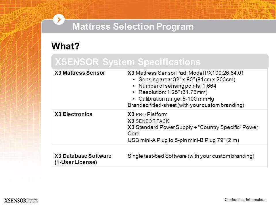 Confidential Information XSENSOR System Specifications What? X3 Mattress SensorX3 Mattress Sensor Pad: Model PX100:26.64.01 Sensing area: 32