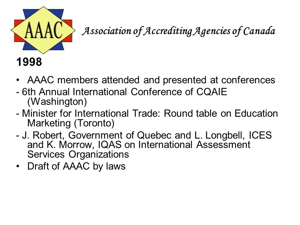 Association of Accrediting Agencies of Canada 1998 AAAC members attended and presented at conferences - 6th Annual International Conference of CQAIE (