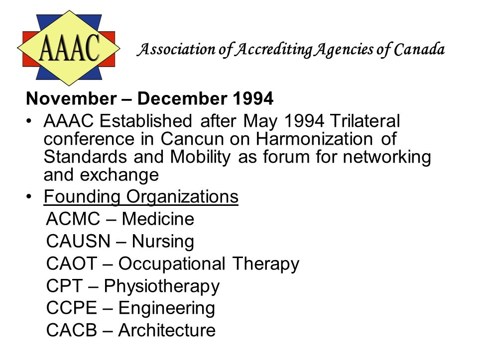 Association of Accrediting Agencies of Canada November – December 1994 AAAC Established after May 1994 Trilateral conference in Cancun on Harmonizatio