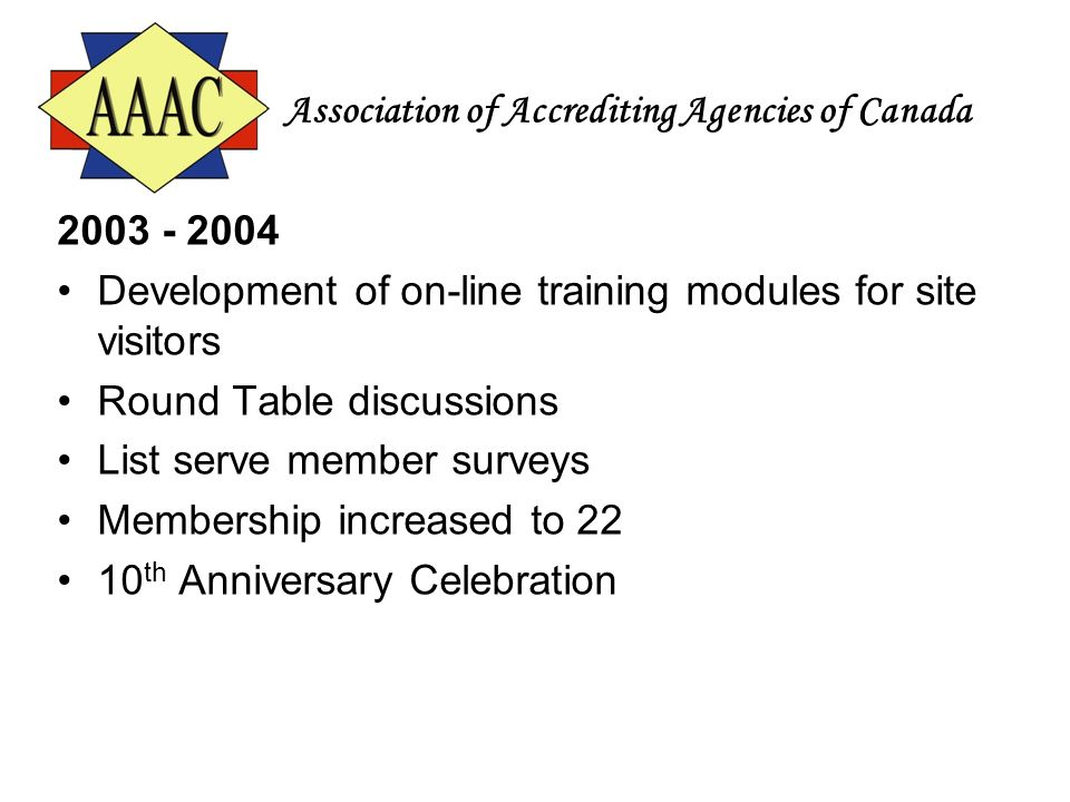Association of Accrediting Agencies of Canada 2003 - 2004 Development of on-line training modules for site visitors Round Table discussions List serve