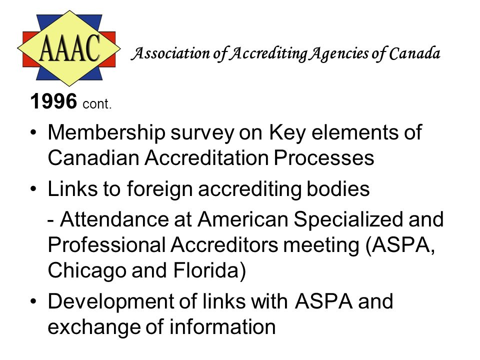 Association of Accrediting Agencies of Canada 1996 cont. Membership survey on Key elements of Canadian Accreditation Processes Links to foreign accred