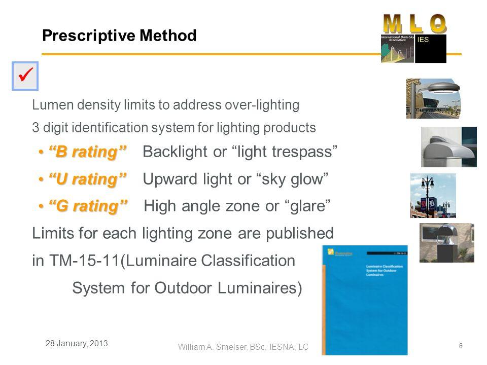 6 William A. Smelser, BSc, IESNA, LC 28 January, 2013 Prescriptive Method Lumen density limits to address over-lighting 3 digit identification system