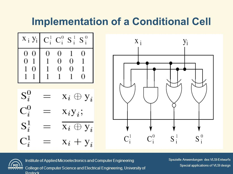 Institute of Applied Microelectronics and Computer Engineering College of Computer Science and Electrical Engineering, University of Rostock Spezielle Anwendungen des VLSI-Entwurfs Special applications of VLSI design Implementation of a Conditional Cell