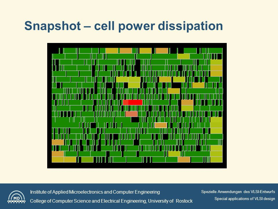 Institute of Applied Microelectronics and Computer Engineering College of Computer Science and Electrical Engineering, University of Rostock Spezielle Anwendungen des VLSI-Entwurfs Special applications of VLSI design Snapshot – cell power dissipation