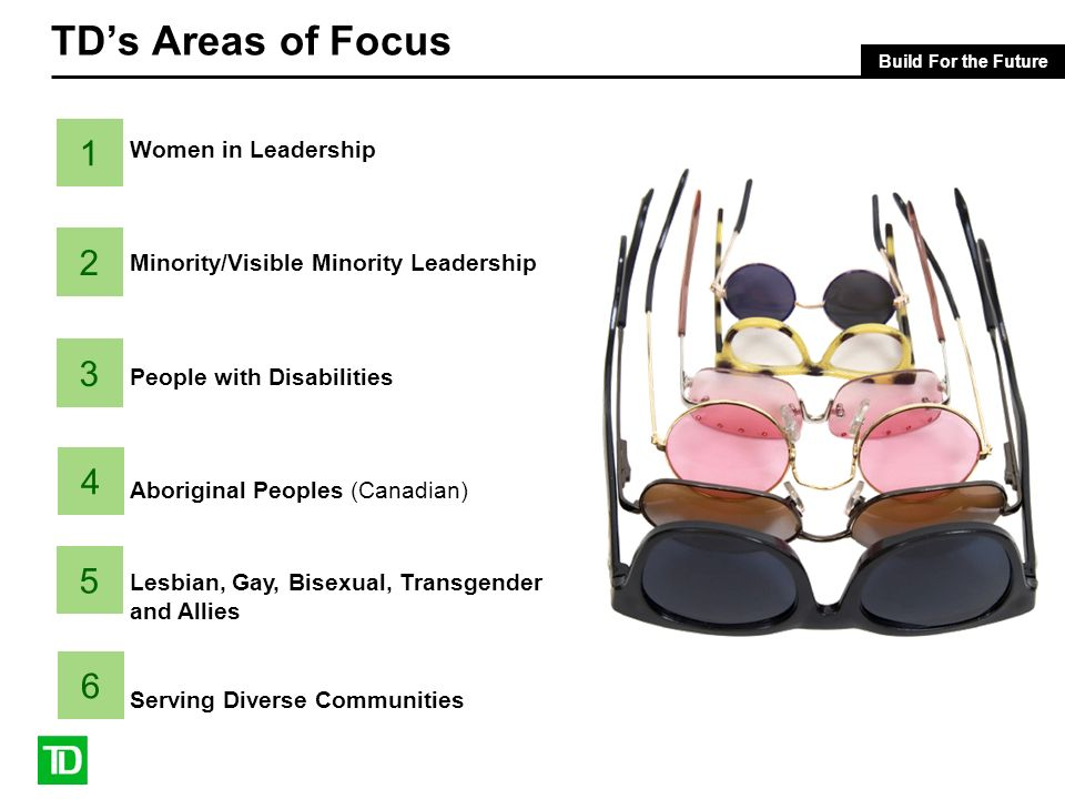 Build For the Future TDs Areas of Focus Women in Leadership Minority/Visible Minority Leadership People with Disabilities Aboriginal Peoples (Canadian