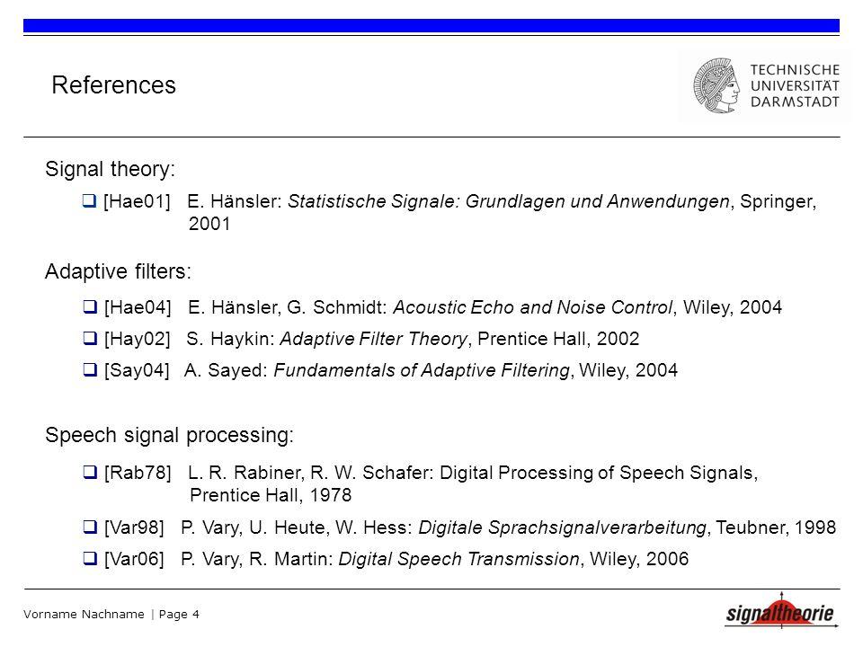 Vorname Nachname | Page 4 References [Hae01] E.
