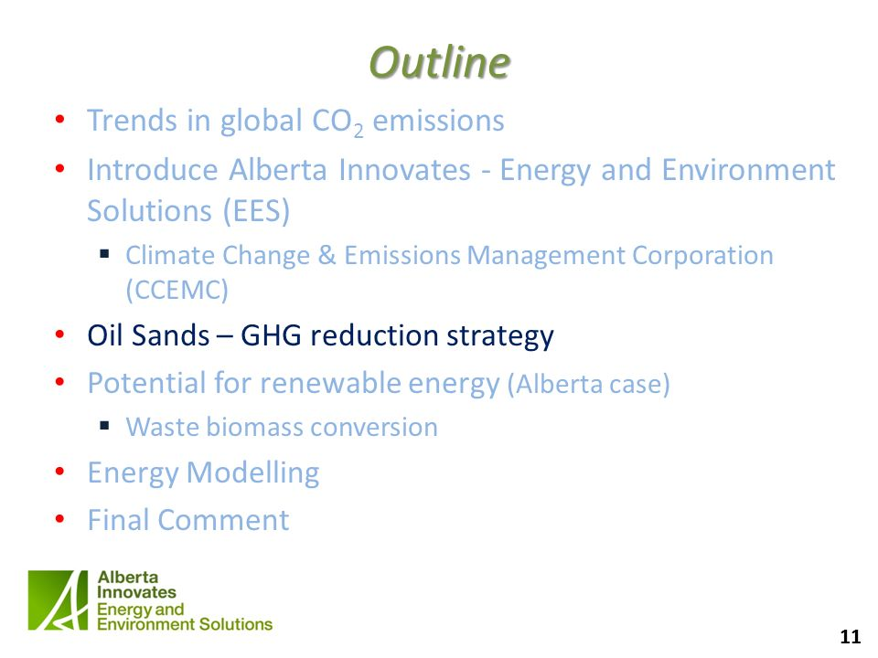 11 Outline Trends in global CO 2 emissions Introduce Alberta Innovates - Energy and Environment Solutions (EES) Climate Change & Emissions Management