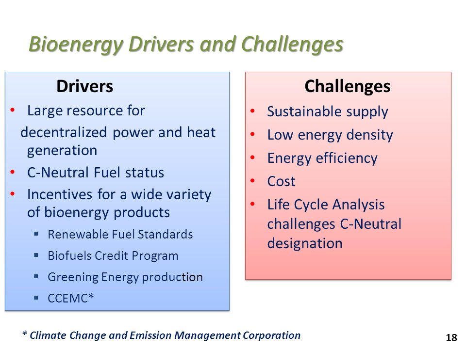 18 Bioenergy Drivers and Challenges Drivers Large resource for decentralized power and heat generation C-Neutral Fuel status Incentives for a wide var