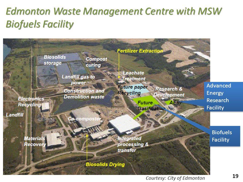 19 Edmonton Waste Management Centre with MSW Biofuels Facility Biofuels Facility Biofuels Facility Advanced Energy Research Facility Advanced Energy R