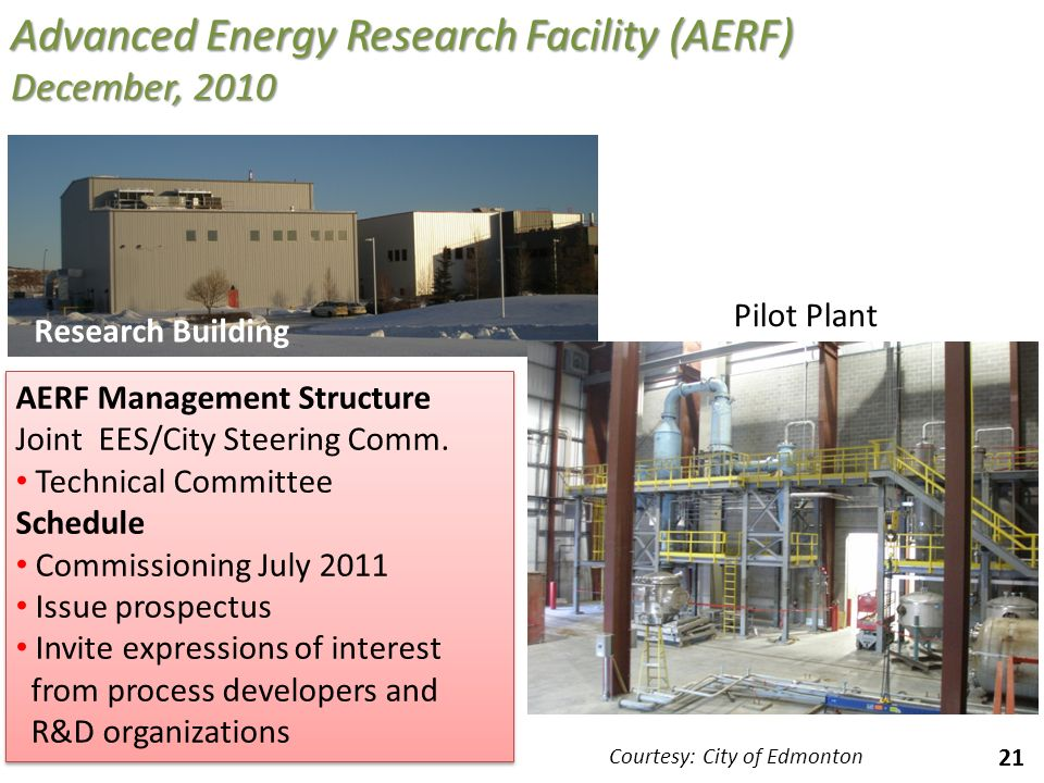 21 Advanced Energy Research Facility (AERF) December, 2010 Research Building Pilot Plant AERF Management Structure Joint EES/City Steering Comm. Techn