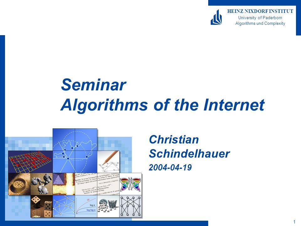 1 HEINZ NIXDORF INSTITUT University of Paderborn Algorithms und Complexity Seminar Algorithms of the Internet Christian Schindelhauer 2004-04-19