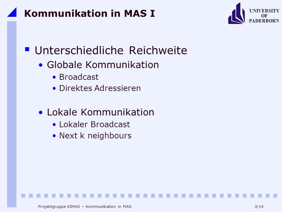 3/14 UNIVERSITY OF PADERBORN Projektgruppe KIMAS – Kommunikation in MAS Kommunikation in MAS I Unterschiedliche Reichweite Globale Kommunikation Broad