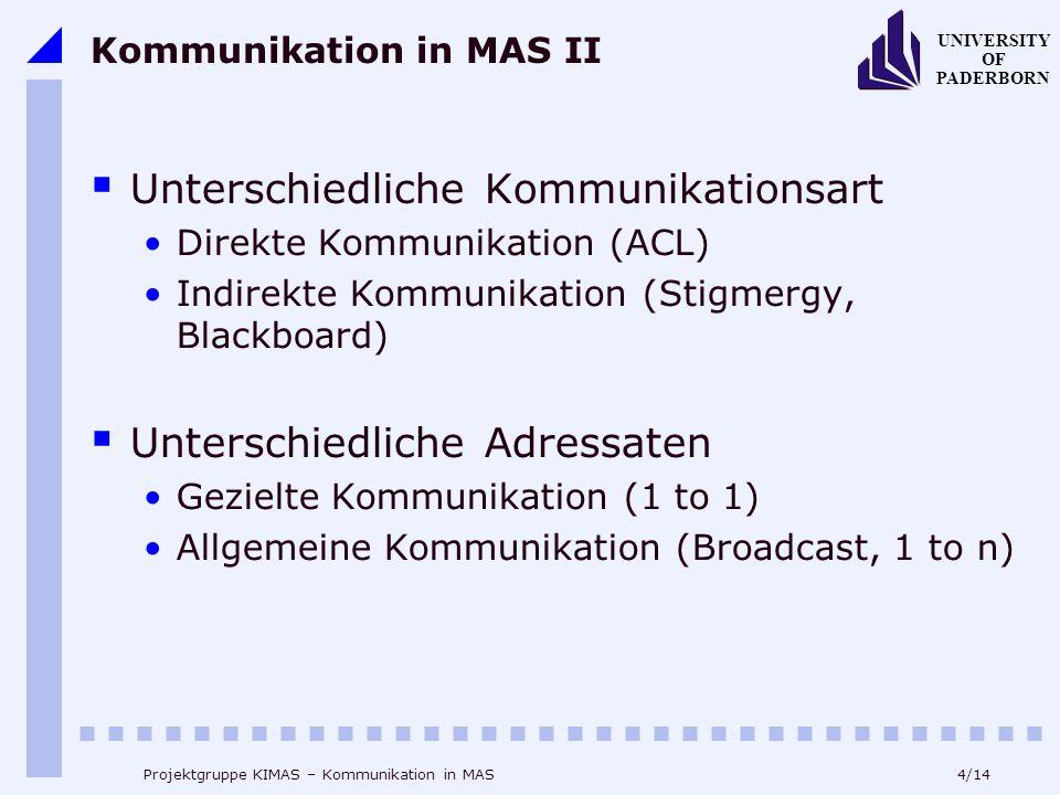 4/14 UNIVERSITY OF PADERBORN Projektgruppe KIMAS – Kommunikation in MAS Kommunikation in MAS II Unterschiedliche Kommunikationsart Direkte Kommunikati