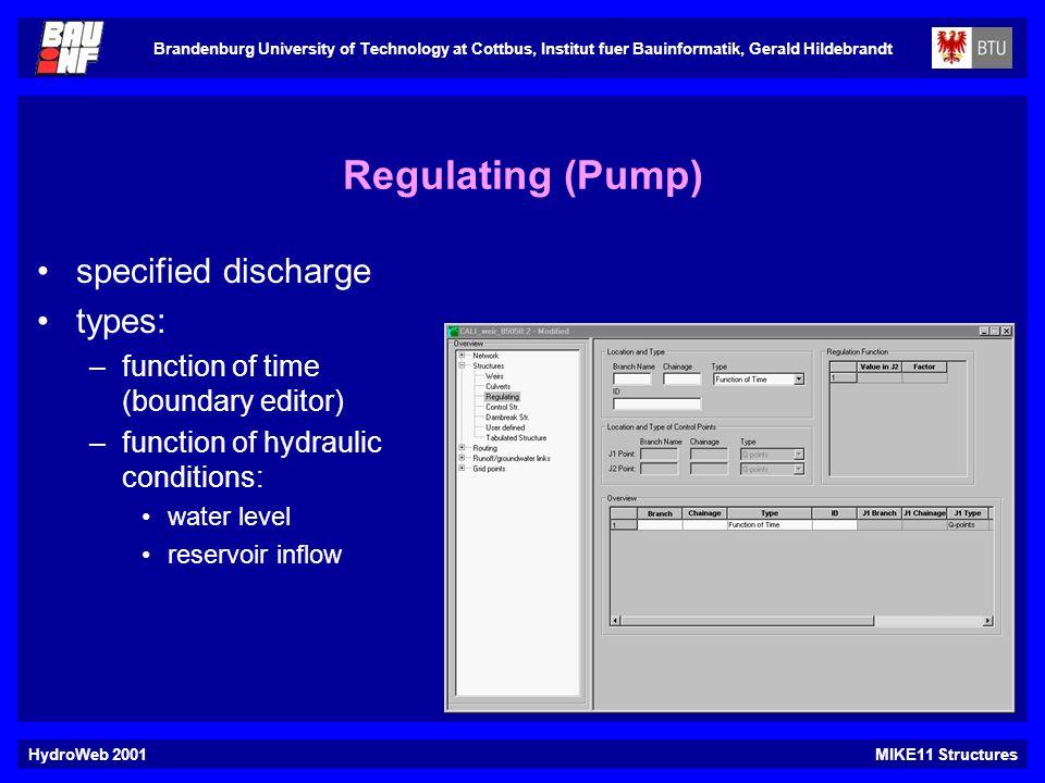 Brandenburg University of Technology at Cottbus, Institut fuer Bauinformatik, Gerald Hildebrandt HydroWeb 2001MIKE11 Structures Regulating (Pump) spec